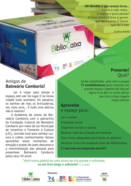 Lançamento das BiblioCaixas é nesta quinta-feira