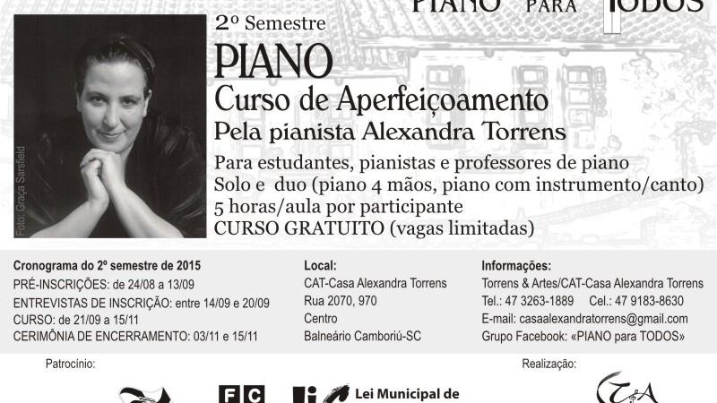 Inscrições abertas para o Curso de Aperfeiçoamento em Piano – 2ª Etapa