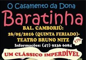 """Teatro Bruno Nitz apresenta """"O Casamento de Dona Baratinha"""" nesta quinta-feira (26)"""