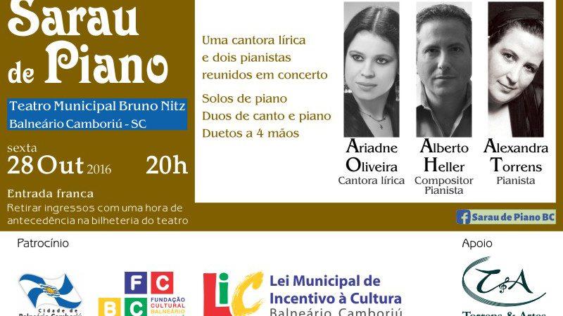 Sarau de Piano será apresentado nesta sexta (28) no Teatro Bruno Nitz