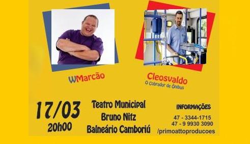 Teatro Municipal Bruno Nitz terá stand-up comedy neste sábado